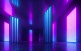 Fototapeta Do przedpokoju - 3d render, blue pink violet neon abstract background, ultraviolet light, night club empty room interior, tunnel or corridor, glowing panels, fashion podium, performance stage decorations,