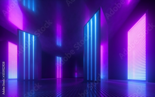 Cuadros en Lienzo 3d render, blue pink violet neon abstract background, ultraviolet light, night c