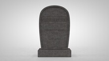 3D Rendering Of A Tombstone, A Monument Of The Shutterstock Photo Bank With The Date Of Change In Rates. The Idea Of The Sunset Of The Photobank, An Ill-considered Decision To Reduce The Rates For Art