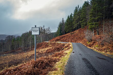 Passing Place Sign On The Single Track Road In Glen Lyon, Scotland.