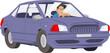 Man driving car. Stock illustration
