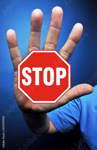 Valokuvatapetti Hand Stop Sign.