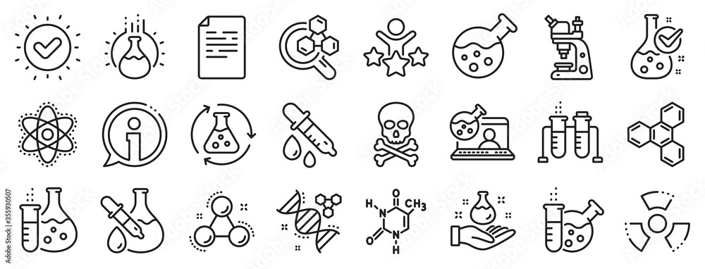 Fototapeta Chemical formula, Microscope and Medical analysis. Chemistry lab line icons. Laboratory test flask, reaction tube, chemistry lab icons. Microscopic research, toxic radiation. Vector