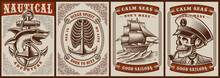 Set Of Color Posters On The Theme Nautical With A Vintage Ship, Skull Captain, Shark.
