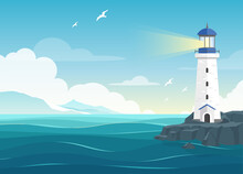 Vector Illustration Of Beautiful Blue Sea Background With Waves, Seagulls, Mountains And Lighthouse. Beacon In Ocean For Navigation Illustration. Island Landscape.