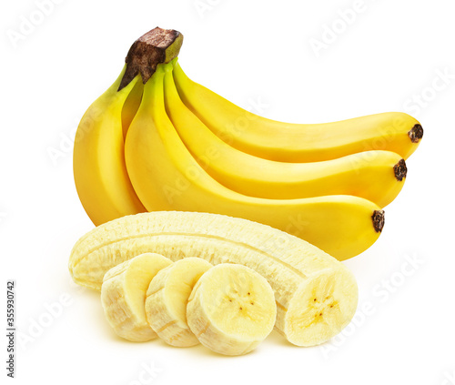 Foto Banana isolated on white background, whole and sliced