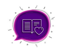 Love Book Line Icon. Chat Bubble With Shadow. Feedback Sign. Customer Satisfaction Symbol. Thin Line Love Book Icon. Vector