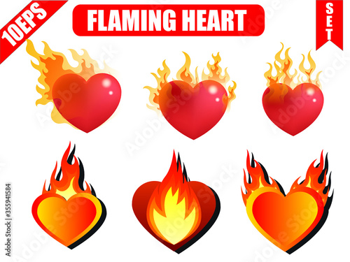 Heart fire. Flame heart set with white background. Canvas Print