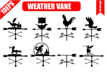 Weather Vane Silhouette, Set Icons. Windvane, Weathervane Symbol Or Logo. Vintage Vector Illustration