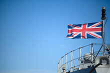 Union Jack Flag Flying On The HMS Medway Warship/offshore Patrol Vessel For The British Royal Navy