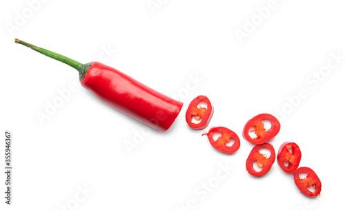 Obraz Hot chili pepper on white background - fototapety do salonu