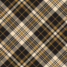 Tartan Pattern Vector In Gold And Black. Seamless Diagonal Woven Pixel Check Plaid Graphic For Autumn Winter Flannel Shirt, Skirt, Blanket, Throw, Duvet Cover, Or Other Textile Design.