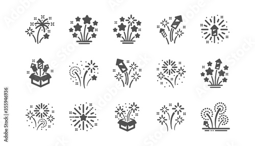 Obraz Firework salute icons set. Carnival celebration, christmas explosive pyrotechnic and festival lights. New year firework set icons. Flash rocket, pyrotechnic effects, christmas salute. Vector - fototapety do salonu
