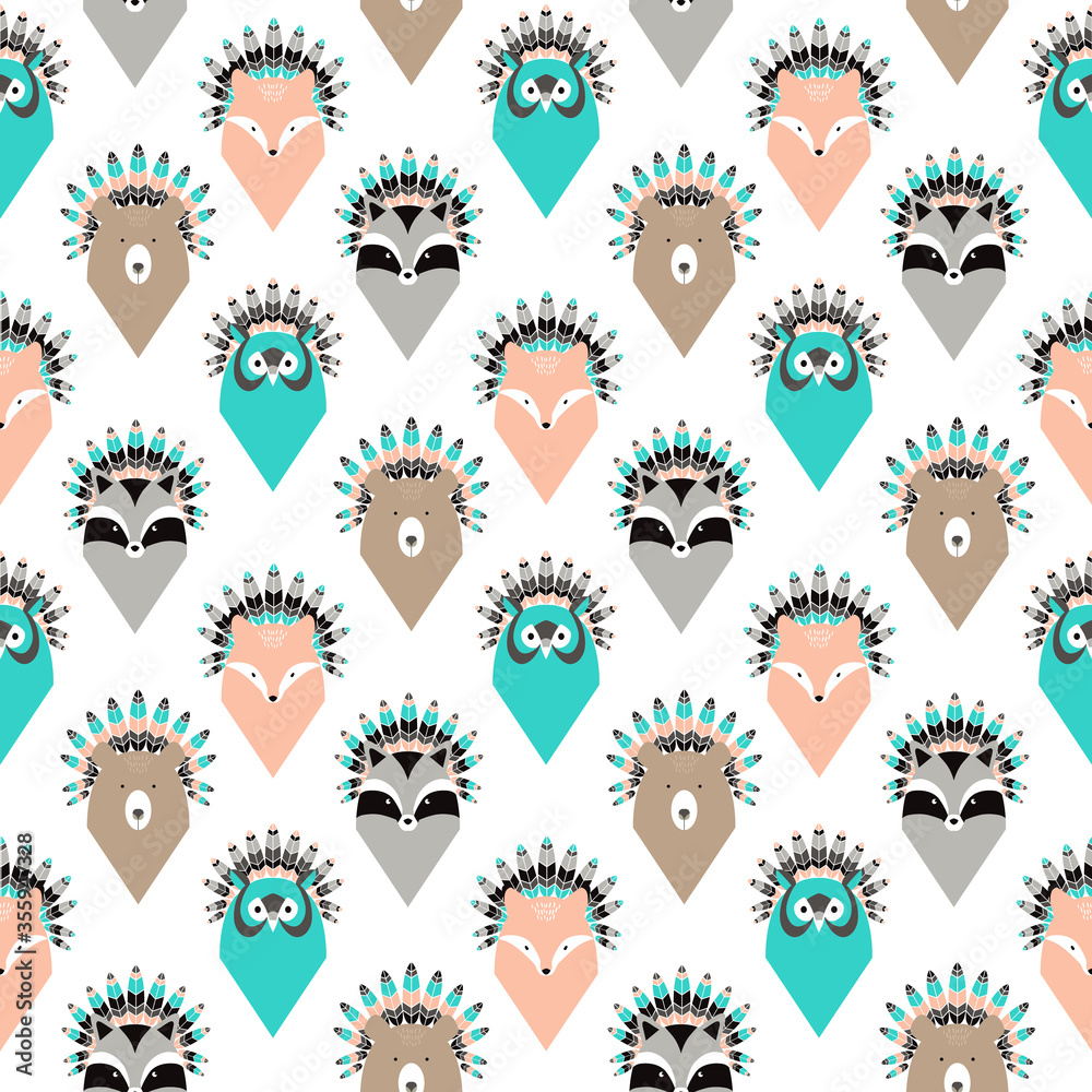 Cute seamless pattern with animals with feathers