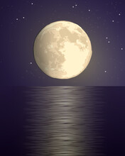 Full Big Yellow Moon Against The Background Of The Starry Sky Over The Sea With A Lunar Path On The Water. Dark Purple Vector Hand Draw Illustration Landscape Vertical Square Format