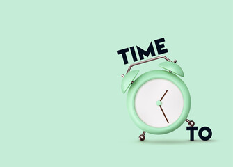 Clock 3d Vector. Green Alarm clock realistic of plastic in soft pastel colors. Time to the watch.