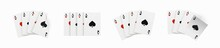 Realistic Vector Design Of Winning Hand Four Ace. Playing Poker. Set Of Four Of A Kind Aces Playing Cards. Combination In Poker Consisting Of Four Cards Of The Same Value Kicker.