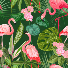 Fototapeta Liście Tropical Background with Flamingo, Palm Leaves and Orchid Flowers. Seamless Floral Print with Exotic Blossoms