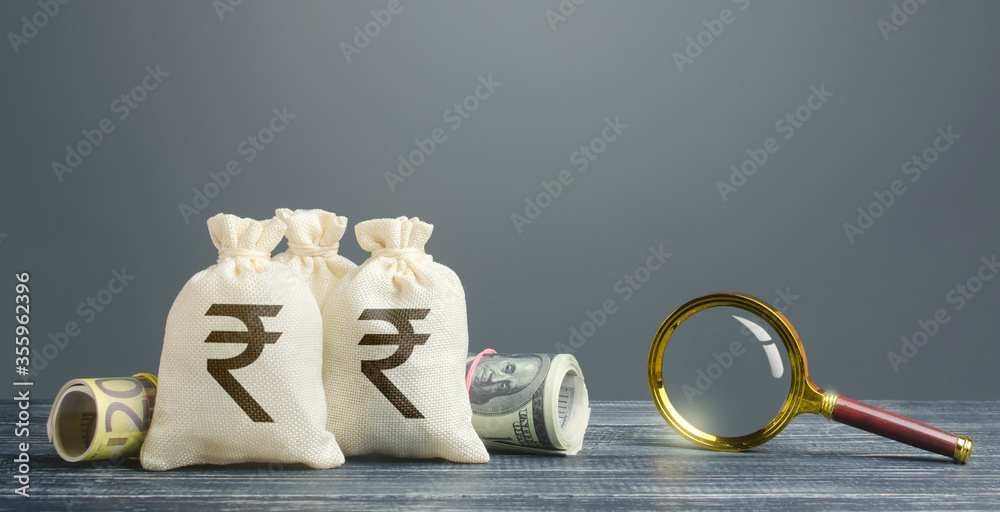 Fototapeta Indian rupee money bags and magnifying glass. Profitable investment, dividends payouts. Financial monitoring of suspicious cash transactions. Search sources of financing projects. Budget revision