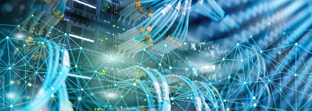 Fototapeta Telecommunication global network structure and networking concept on panoramic server background.