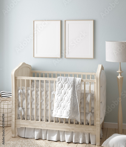 Mock up frame in boy nursery with natural wooden furniture, 3D render