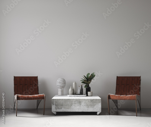Fototapeta Modern nomadic style living room interior background, wall mockup, 3d render obraz