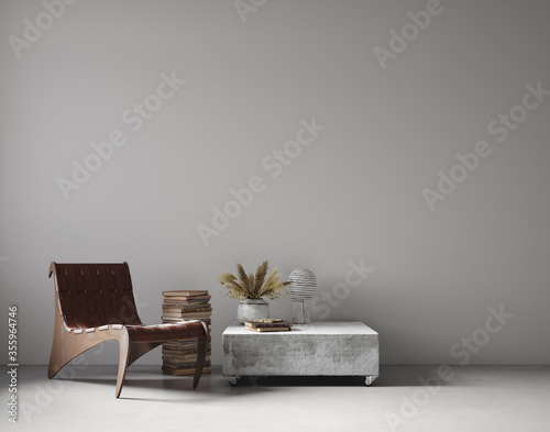 Modern nomadic style living room interior background, wall mockup, 3d render