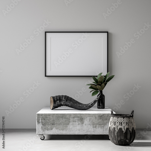 Mockup poster frame with ethnic decor close up in loft interior, 3d render Canvas Print