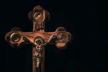 Wooden Christian Cross On A Da...