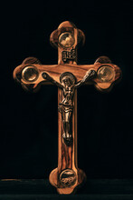 Wooden Christian Cross On A Da...
