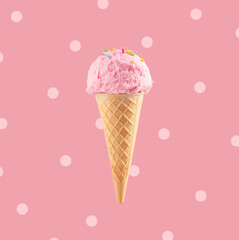 Ice cream cone close-up. Pink Icecream scoop in waffle cone over pink background. Strawberry or raspberry flavor Sweet gelato over polka dots background, closeup