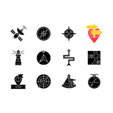 Navigation Black Glyph Icons Set On White Space. Land, Marine And Aeronautical Navigating Silhouette Symbols. Different Geographical Positioning Signs, Maps And Pointers. Vector Isolated Illustrations