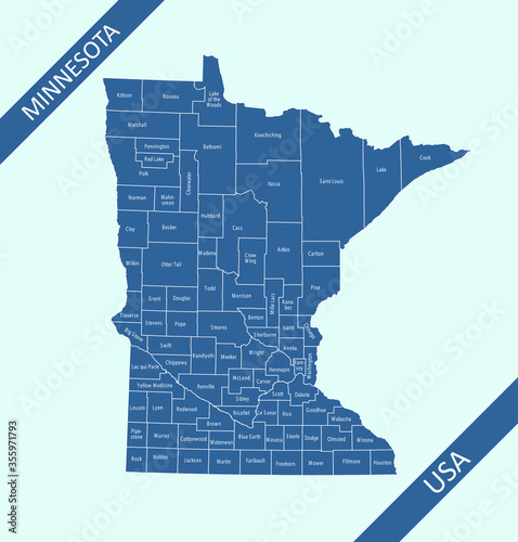 Photo County map of Minnesota labeled