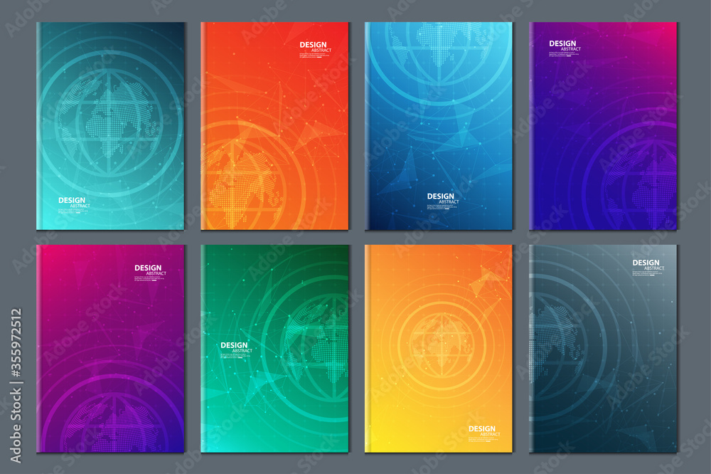 Fototapeta Abstract technology data visualization background. network futuristic wireframe. artificial intelligence. cyber security. visual information complexity. Intricate data threads plot. brochure cover .