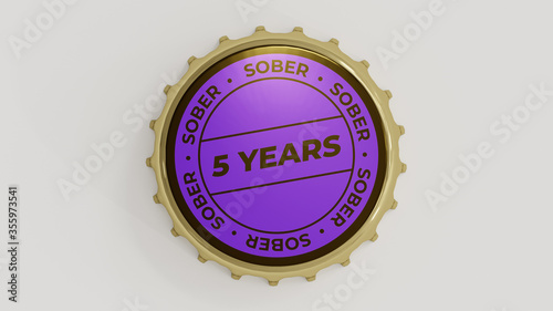 5 Years Sober. Sobriety seal on a bottle cap. Canvas Print