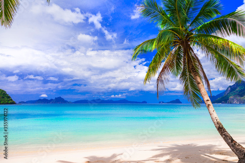 Obraz Wonderful idyllic nature scenery - tropical beach of El Nido. Palawan island , Philippines - fototapety do salonu