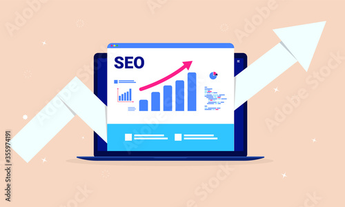 Fotografija SEO optimisation - Laptop computer with search engine performance tools, rising graph and big arrow pointing upwards