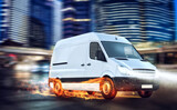Fototapeta Miasto - Super fast delivery of package service with van with wheels on fire.