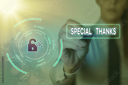 Conceptual hand writing showing Special Thanks Canvas Print