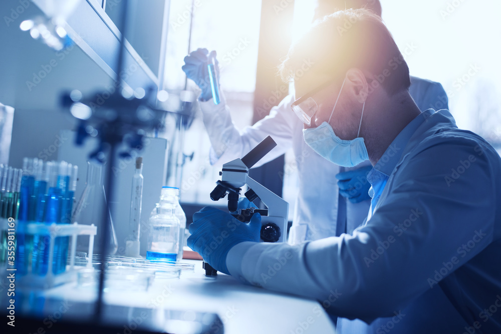 Fototapeta Medical science laboratory. Concept of virus and bacteria research