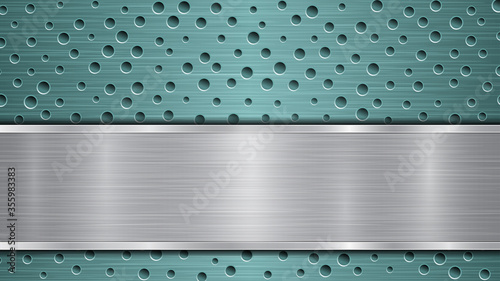 Fototapeta Background of light blue perforated metallic surface with holes and horizontal s