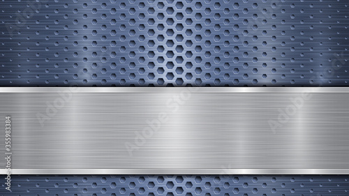 Obraz na plátně Background of blue perforated metallic surface with holes and horizontal silver