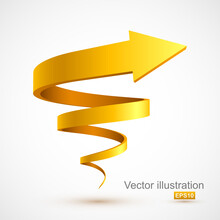 Yellow Spiral Arrow 3d Vector Illustration