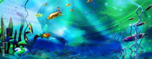 Fototapeta Underwater world and sea life. Colorful cartoon illustration. obraz