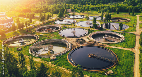 Fototapeta Aerial view of wastewater treatment plant, filtration of dirty or sewage water. obraz