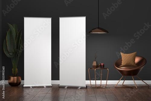Fotografía Roll Up Banner Stand Mockup in living room. 3D rendering.