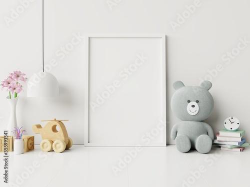 Mock up poster frame in children room,kids room,nursery mockup. Fototapet
