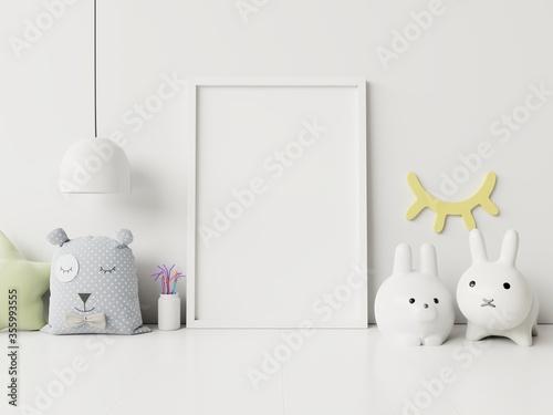 Fotomural Mock up poster frame in children room,kids room,nursery mockup.