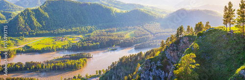 Panoramic view of the Katun river valley, Altai Fototapete