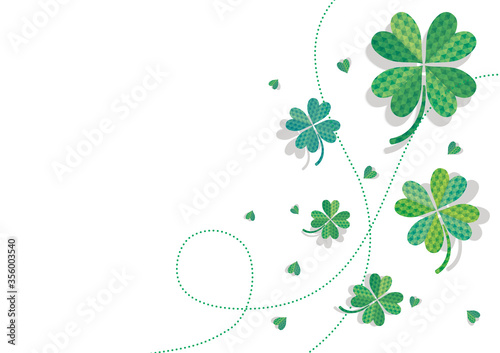 幾何学で描かれた四つ葉のクローバーで構成された可愛い背景イラスト 幸運希望誠実愛情 白背景  Fototapete